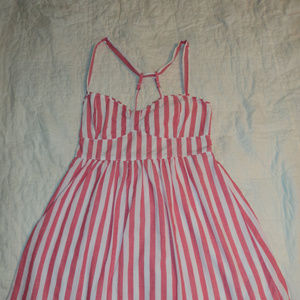 Hollister Pinstripe Pink/White Sun Dress Lrg